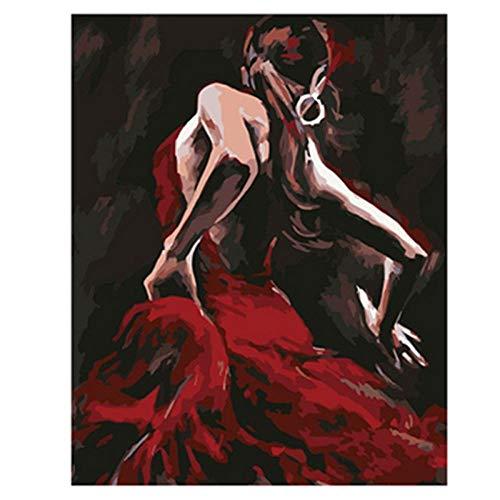Pintar Por NumerosAdultos Figura Bailarina Vestido Rojo Diy Grande Pintura Al Óleo Kits Color Lienzo Facil Pincel Infantil Principiantes Con Marco 40X50Cm,Zhxx
