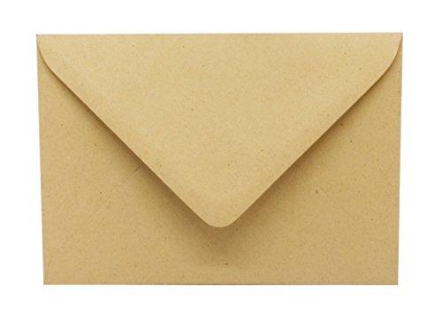 50 Kraftpapierumschläge - Briefumschläge aus Kraftpapier - Vintage Manila - DIN C6 Kuvert - passend für DIN A6 Karten - nassklebende Kuverts für Einladungskarten, Grußkarten, Postkarten