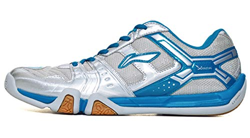 LI-NING Men Saga Lightweight Anti-Slippery Badminton Shoes Breathable Professional Sport Shoes Silver AYTM085 US 9