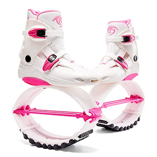 Kangaroo Jump Shoes Gen 2 Series   Bounce Shoes   Exercise & Fitness Boots   Workout Jumps   Women & Men   Adults 120LBS - 300LBS (Hot Pink White, Womens 8-10 165-200LBS)