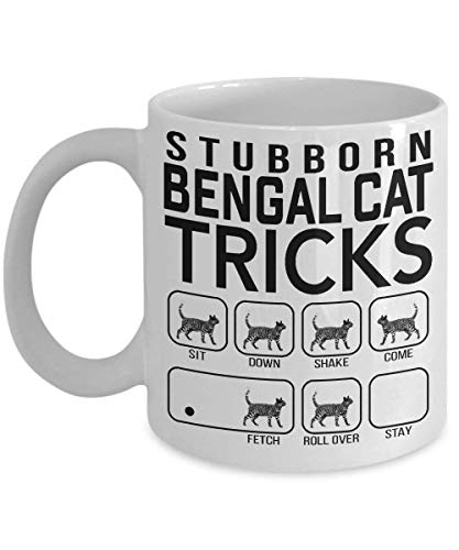 Stubborn Bengal Cat Tricks - Awesome Cat Fetch Mug - Best Cat Trainer Cup Ever - Funny Coffee Bengal Cat Mug, St Patrick's Day, Christmas, Xmas, Birthday Gifts, Rude Sarcastic Mugs Memes Cup