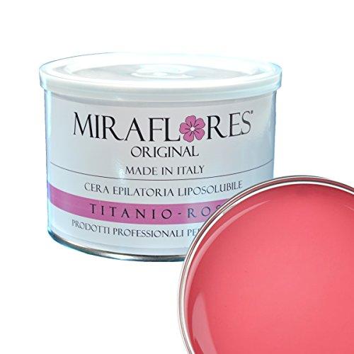 Cire Dépilatoire épilation professionnelle, liposoluble en pot de 400 ml - Miraflores original - adaptée à peaux sensibles, sèches, bronzè - anti-allergène et n'irrite pas la peau - Titane Rose
