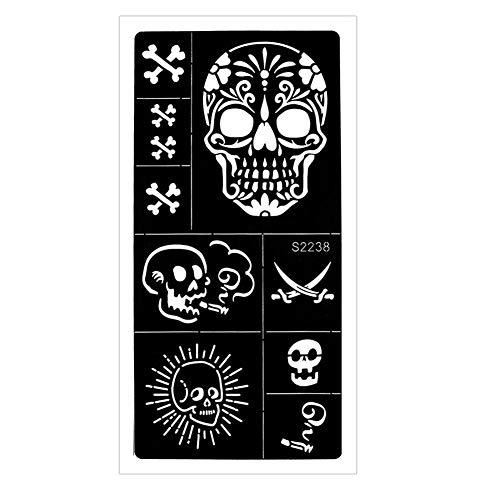 JUSTFOX - Henna Tattoo Schablone Airbrush Stencil Totenkopf Säbel Kina Dövme
