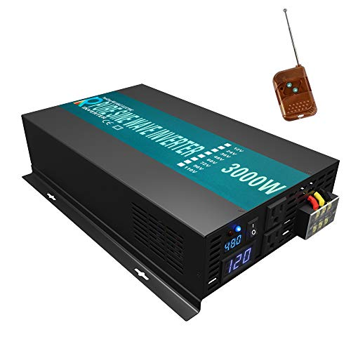 WZRELB Reliable 3000W Pure Sine Wave Solar Power Inverter 48V 120V 60Hz Power Converter LED Display DC to AC Power Generator with 100ft Wireless Remote Controller