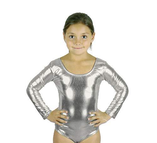 Carnavalife Maillot Ballet Danza Niña de Manga Larga y Cuello Redondo (Plateado, 1-3 años)