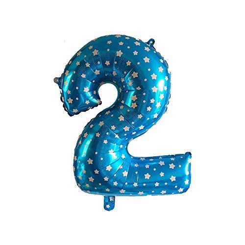 DW4Trading® XL Folie Ballon Verjaardag Cijfer 2 blauw