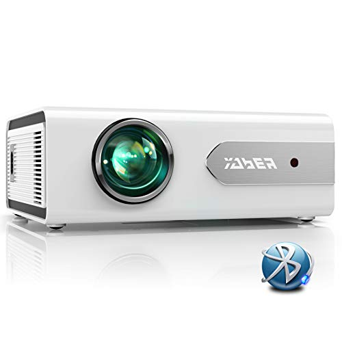 Projector, YABER V3 Mini Bluetooth Projector 5500 Lux Full HD 1080P and Zoom Supported, Portable LCD LED Home & Outdoor Projector for iOS/Android/TV Stick/PS4/PC/Bluetooth Speaker (White)