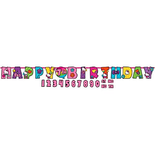 Jumbo Add-An-Age Letter Banner | Hello Kitty Rainbow Collection | Birthday, 10 1/2 x 10, Multicolor