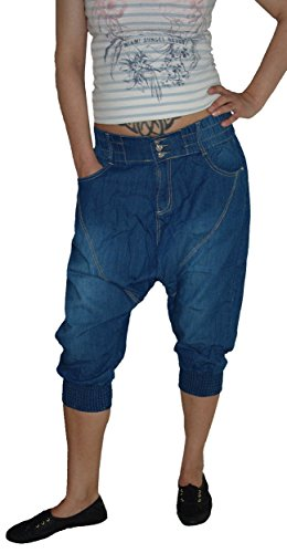 Miss One Damen Capri Aladin Sarouel Jeans Hose, 3-Knopf, M-709, Blue Used, Gr.38