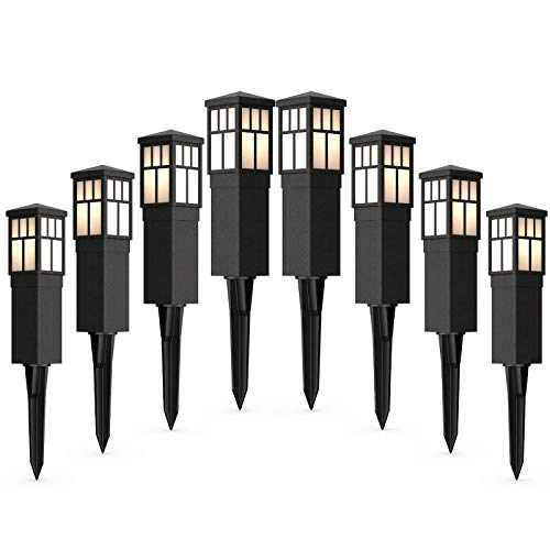 Malibu Mission Collection LED Bollard Pathway Light LED Low Voltage Landscape Lighting Square Bollard Pathway Decoration Garden Stake Light for Outdoor Outside Garden Driveway 8PK 8419-4321-08