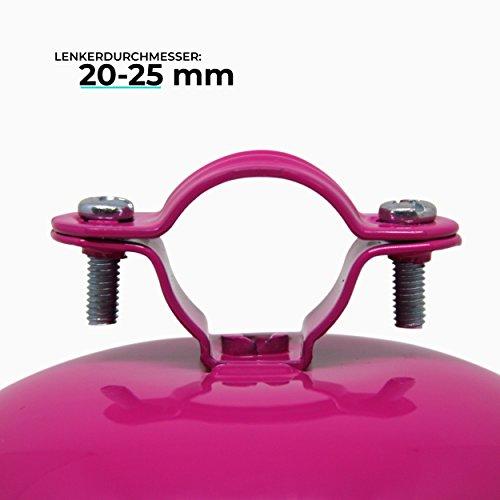 URBAN ZWEIRAD Fahrradklingel/Fahrrad Glocke Big Mama (groß), Klingel für Hollandrad oder Damenfahrrad (pink) - 4