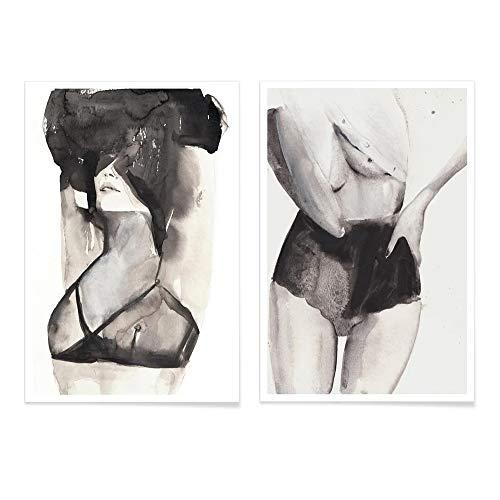 JUNIQE® Poster-Set - Silhouetten in Schwarzweiß - Poster & Prints für stilvolle Wände - 2X 40x60