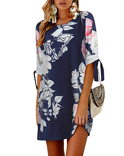 YOINS - Vestito da donna a maniche lunghe, con fiocco e maniche Blu 03 M