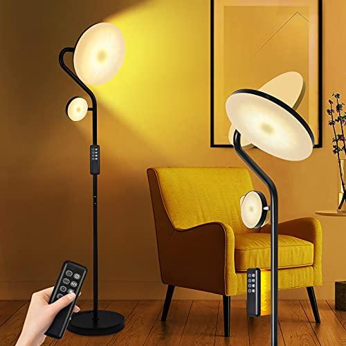 KINGLEAD Lampara de Pie, 27W Lámpara pie LED Regulable con 7W Luz de Lectura, 2000 lm Lámpara de techo con 4 temperaturas de color, Lámparas pie brillantes con Mando a Distancia para dormitorio, salón