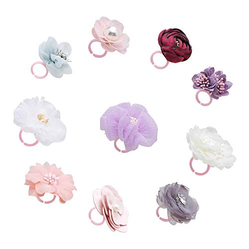 cherrboll 10Pcs Girls Floral Jewelry Rings, Adjustable Flower Rings for Little Kids, Children's Jewelry Set, Girl Pretend Play and Dress up Rings Gift in Box