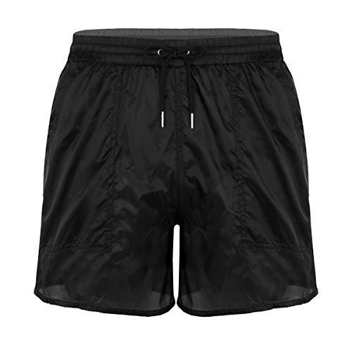 iiniim Bañador de Natación Pantalones Cortos de Baño Playa Transparentes para Hombre Pantalones con Bolsillos Cordón Cintura Elastica Traje de Baño Verano Negro L