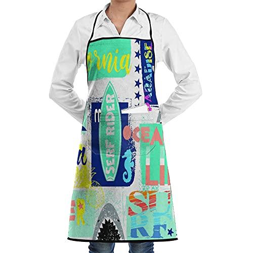 LOSNINA Delantal de cocina impermeable para hombres delantal de chef para mujeres restaurante de jardinería barbacoa cocinar hornear,Surfer Shark Dolphin Bright Colors para niño y niña