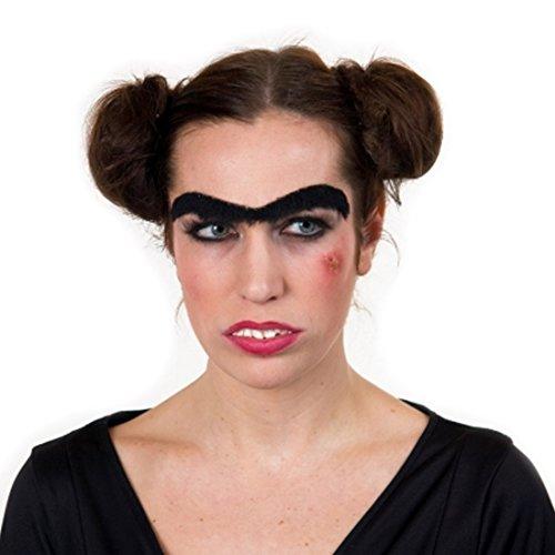 Amakando Faux-sourcil Rigolo Mono-sourcil Faux Poils collés Noir Article farces et attrapes Halloween déguisement Carnaval