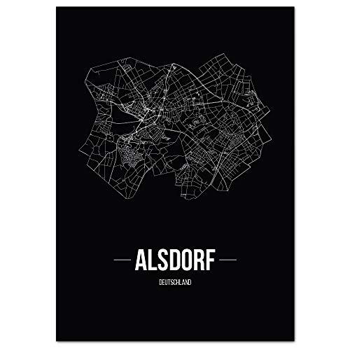 JUNIWORDS Stadtposter, Alsdorf, Wähle eine Größe, 40 x 60 cm, Poster, Schrift B, Schwarz