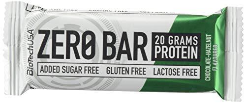 BioTech USA ZERO BAR Barrita de proteína caja 20 unidades (50gr unidad) (chocolate/avellana)