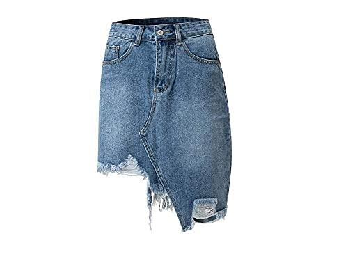 KINGVON Moda mujer mujer verano sexy cintura alta irregular rasgado retro lavado lápiz una línea elástica falda de mezclilla adelgazar abrigo cadera medio vestido con bolsillo