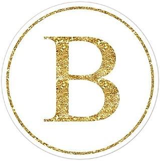 60 Gold Glitter Monogram Stickers, Glitter Print (not real glitter) Labels, Gold Monogram, Wedding Stickers, Envelope Seals, Monogram Labels - 2 inch round OR 2.5 inch round
