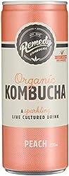 Remedy Organic Kombucha Peach Cans Multipack, 24 x 250ml