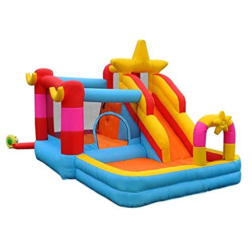 Castillo Hinchable Y Tobogán Inflable para Niños, Trampolín Inflable con Inflador, Juego Al Aire Libre, Actividad En El Jardín, Diversión De 3 A 12 Años, Juguetes para Niños