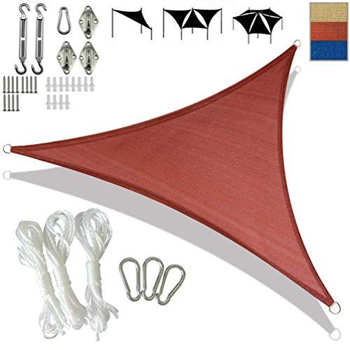 SONNIGPLUS Toldo Vela de Sombra, Toldo Parasol triángulo Anti-UV HDPE, Tasa de sombreado 95% con Anillo en D de Acero Inoxidable Accesorios, para jardín Piscina Exterior,Red-3.6x3.6x3.6m/12x12x12ft