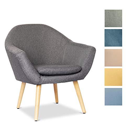 Mc Haus NAVIAN - Sillón Nórdico Escandinavo de color Gris Marengo, butaca comedor salón dormitorio, sillón acolchado con Reposabrazaos y patas de madera 74x64x76cm