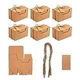 NBEADS Caja de Papel de Cáñamo, 30 Juegos Caja de Cartón Plegable para Alimentos con Etiqueta de Cordón para Pastel de Dulces de Favor de Boda y Regalo de Bricolaje, 10x6x6cm