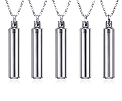 VNOX Cremation Jewelry Set for 5 Stainless Steel Cylinder Cremation Memorial Urn Necklace,Free Chain 24""