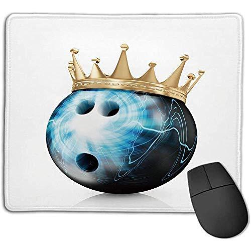 Mauspad Bowling Party Dekorationen Krone auf künstlerischen Ball Bowling König Champoin Sieg Himmelblau Schwarz Gold ol Office mo