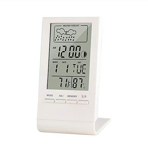 I3C Digitales Raumthermometer mit LCD-Display, Hygrometer, Temperaturuhr, Luftfeuchtigkeitsmesser für Zuhause und Büro (weiß)