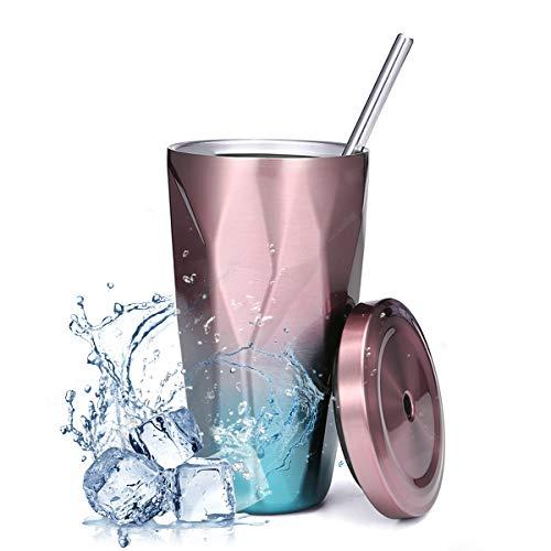 KINGSO Kaffeebecher Edelstahlbecher Coffee to go Thermobecher Farbverlaufs-Becher, mit Trinkbecher Strohhalm, Doppelwand auslaufsicher Trinkbecher 473ml, Robust BPA-frei, FDA geprüft