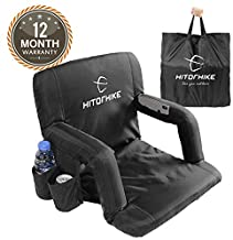 HITORHIKE Stadium Seat for Bleachers or Benches Portable Reclining Foldable Black Stadium Seat Chair with Padded Cushion Chair Back and Armrest Support