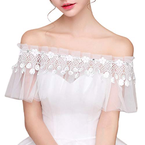 yanni Female Banquet Bride Wedding Shawl Wraps Sexy Off Shoulder Fringed Rhinestone Lace-up Short Cape Pleated Ruffles Bolero