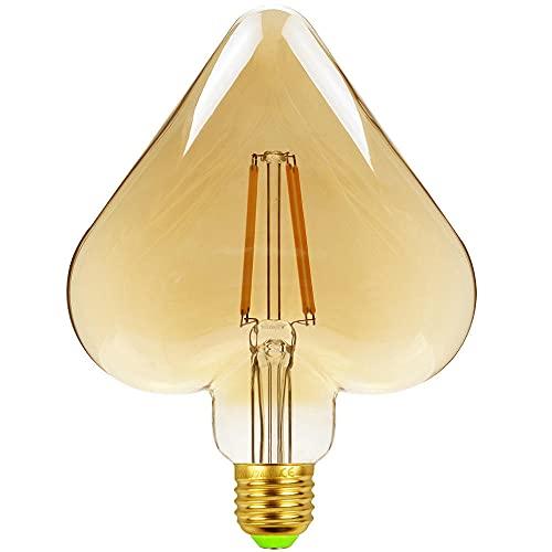 KCBYSS Amor antiguo bombilla melocotón corazón LED filamento lámpara restaurante café tienda retro fuente de luz decorativa 220v 4w E27