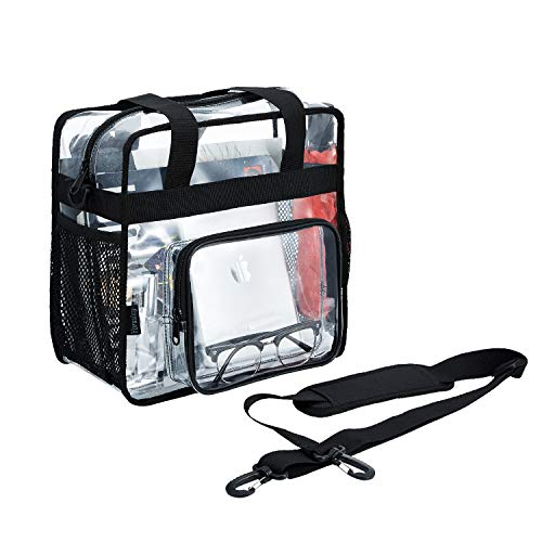clear bag tote heavy duty stadium approved transparent purse handles and shoulder for lunch ,work 12x6x12 women and men black