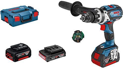 Bosch Professional GSB 18V-85 C System Taladro percutor, par máximo: 110 NM, Incl. Módulo de conectividad, 1x5.0, batería de 1x3, 0 Ah, en L-BOXX 136, Amazon Edición, 90 W, 18 V, Azul
