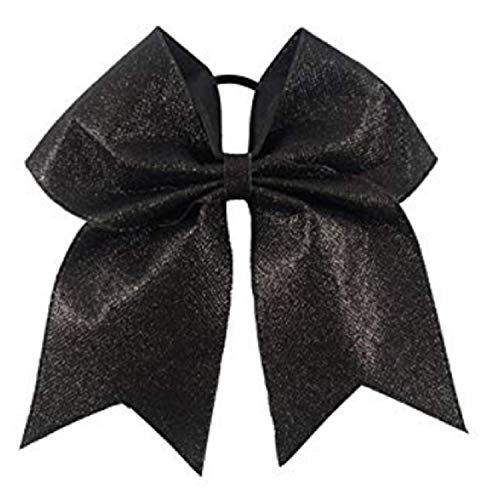Kenz Laurenz Glitter Cheer Bows - Cheerleading Softball Gifts for Girls and Women Team Bow with Ponytail Holder Complete Your Cheerleader Outfit Uniform Strong Hair Ties Bands Elastics (1) (Black)