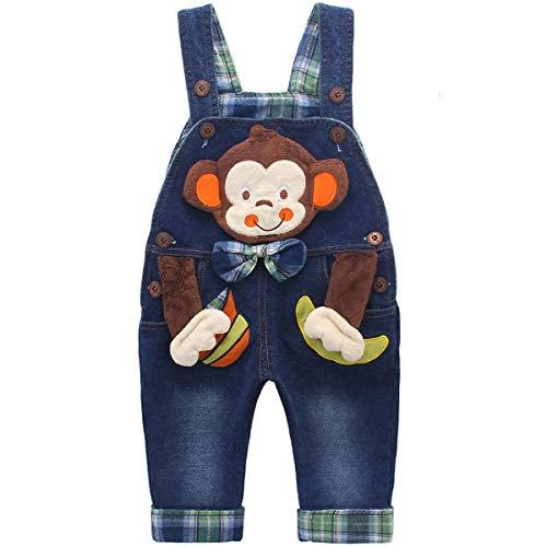 DEBAIJIA Baby Jungen Mädchen Denim Latzhose Kleinkind Hosenträger Jeans Overall AFFE mit Schleife - 110