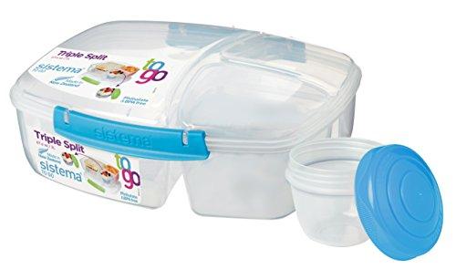 Sistema Boîte à repas avec 3 compartiments et pot de yaourt inclus, capacité totale de 2 L, Plastique, Clear/Assorted (Cuisine)