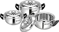 Mintage Divine Stainless Steel Hot Case Casserole (Large, Medium, Small, Silver) - Set of 3 Pieces