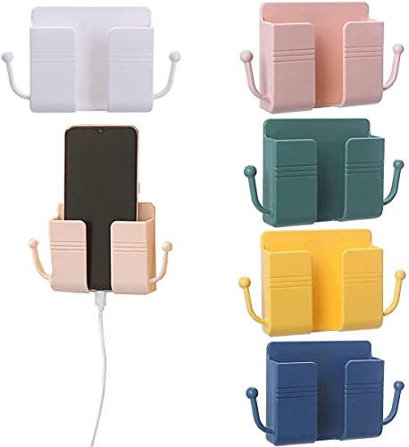 5 stuks wandgemonteerde telefoonbeugels houderorganizer, creatieve mobiele telefoon opladen muur opbergdoos,stekkers…