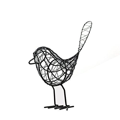 BESYONZON Fer Adorable Oiseau Artisanat Tissé à la Maison Décoration de Jardin Photograhy Équipement (Noir)
