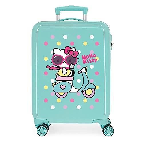 Hello Kitty Girl Gang Maleta de Cabina Verde 38x55x20 cms Rígida ABS Cierre de combinación Lateral 34L 2,66 kgs 4 Ruedas Dobles Equipaje de Mano