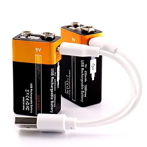 Lithium 9V Block Akku Wiederaufladbare batterien 650mAh mit 2-in-1 USB Typ-C Kabel Schnellladung in 1,5 Stunden,1200 Zyklen recycelbar-2 Stück