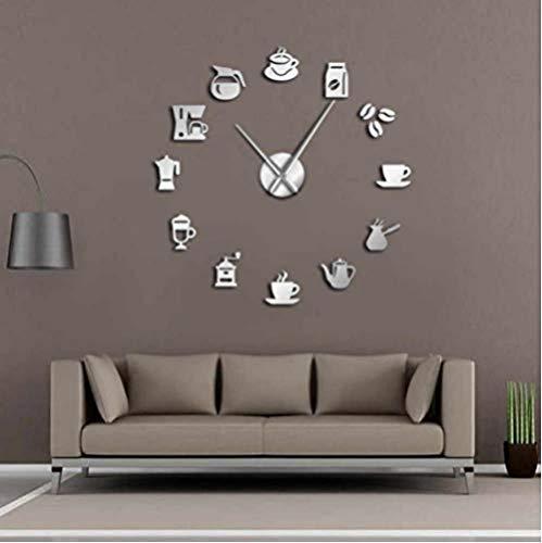 BBNNN Große DIY Cafe Wanduhr Riesen Wanduhr rahmenlose Wanduhr modernes Design Cafe Kaffeetasse Kaffeebohne Wand Kitchen47Inch Handmade