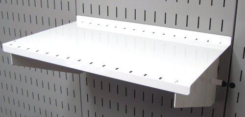 Wall Control Pegboard Shelf 9in Deep Pegboard Shelf Assembly for Wall Control Pegboard and Slotted Tool Board – White